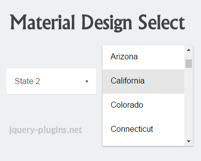Material Design Select with jQuery