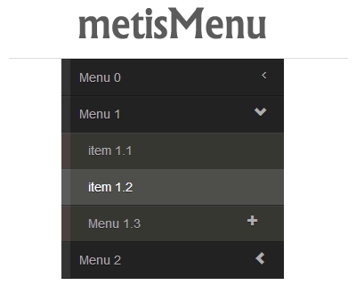 metisMenu – jQuery Menu Plugin for Bootstrap 3