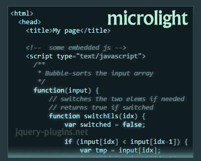 Microlight.js – Highlights Code in Any Programming Language