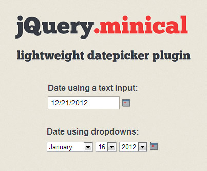 minical –  Lightweight Datepicker Plugin