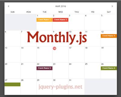 Monthly –  jQuery Responsive Calendar Plugin