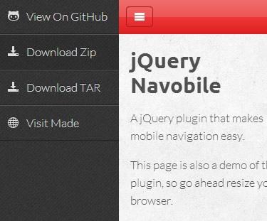 Navobile – Mobile Navigation jQuery Plugin