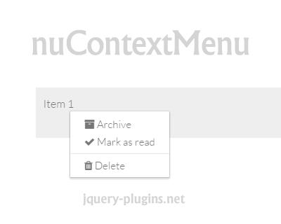 nuContextMenu – Modern jQuery Context Menu