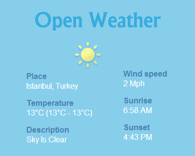 Open Weather – jQuery Plugin to Display Weather of Any City