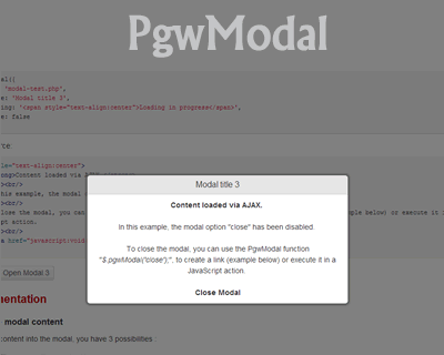 PgwModal – Responsive Modal / Dialog Window for jQuery