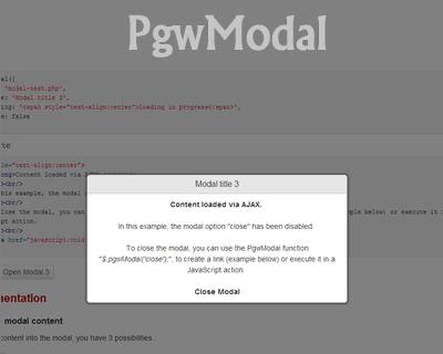 PgwModal – Responsive Modal / Dialog Window for jQuery | jQuery Plugins