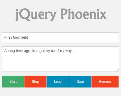 Phoenix – jQuery Plugin to Save Form Fields Values
