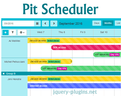 Pit Scheduler – Simple Scheduler using jQuery and Bootstrap