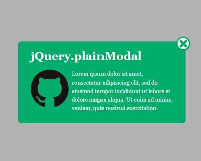 plainModal – jQuery Plugin for Customizable Modal Windows