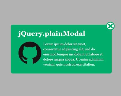 plainModal – jQuery Plugin for Customizable Modal Windows