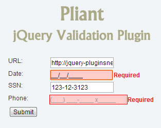 Pliant – Flexible and Extensible jQuery Validation Plugin