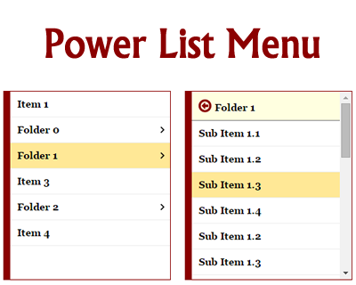 Power List Menu – Mobile Centric, Multi-Level Menu