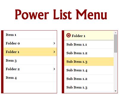 Power List Menu – Mobile Centric, Multi-Level Menu | jQuery Plugins