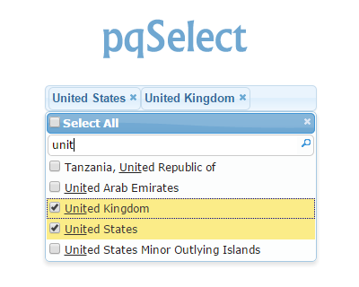 pqSelect – jQuery Multi Select Plugin