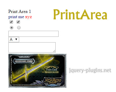 PrintArea – jQuery Plugin to Print Specified Area of Page