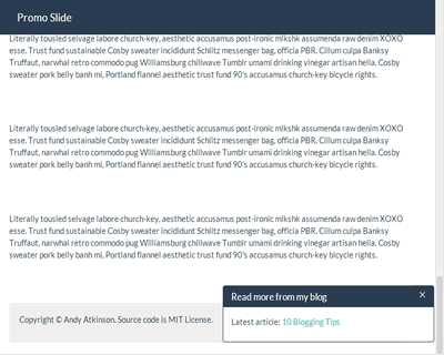 Promo Slide – jQuery Plugin to Show Content at the Bottom of Page After Scrolling