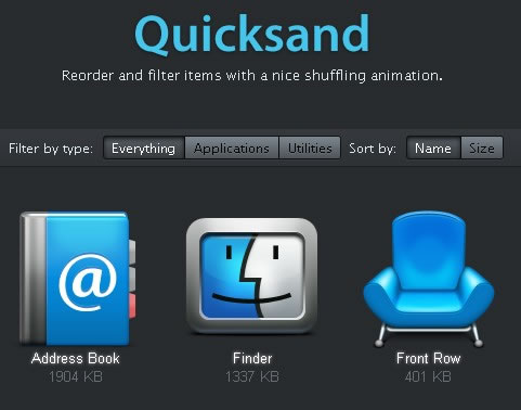 Quicksand – Reorder and Filter Items With Shuffling Animation