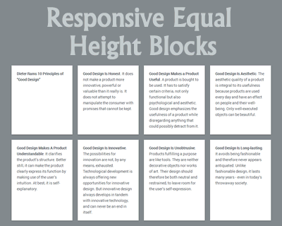 Responsive Equal Height Blocks