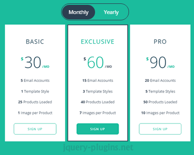 Responsive Flip Pricing Table with jQuery and CSS
