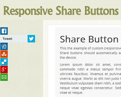 Responsive Share Buttons CSS and jQuery
