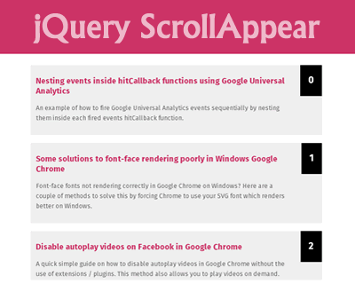 ScrollAppear – Content Appear on Scroll Plugin for jQuery