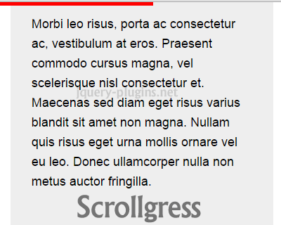 Scrollgress – jQuery Plugin to Display Progress Bar on Scroll