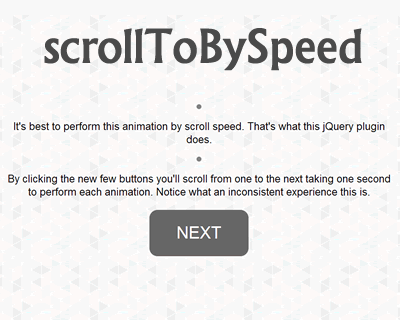 scrollToBySpeed – jQuery Plugin to Scroll by Speed