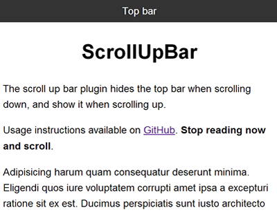 ScrollUpBar – jQuery Plugin to Hide Top Bar When Scrolling Down
