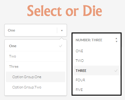 Select or Die –  jQuery Plugin to Style Select Elements