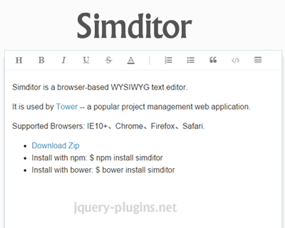 Simditor – Easy and Fast WYSIWYG Editor