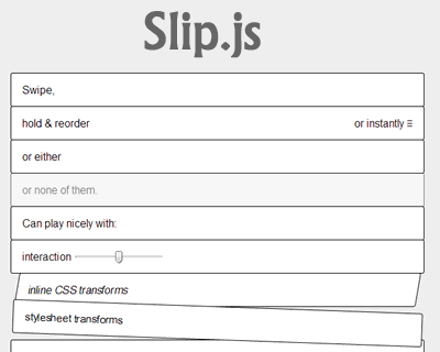 Slip.js – Swipe and Reorder Elements in List on Touch Screens