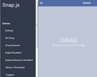 Snap.js – Facebook and Path Style Side Menus