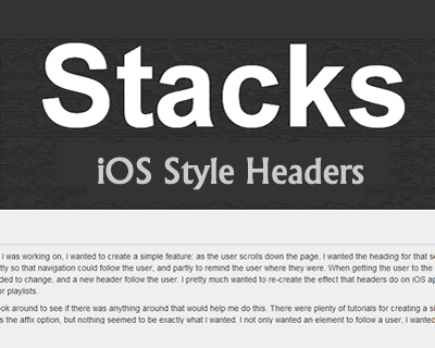 Stacks –  jQuery Plugin for iOS Style Headers