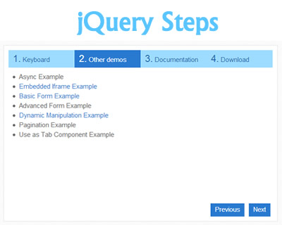 Steps – jQuery Wizard Plugin with HTML5 Support