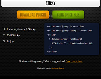 Sticky – jQuery Plugin for Sticky Elements