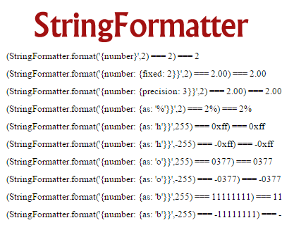 StringFormatter – Javascript String Formatter