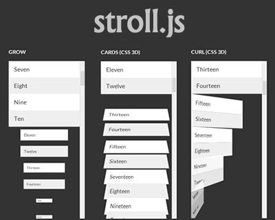 Stroll.js – CSS3 List Scroll Effects