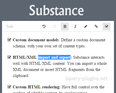 Substance – JavaScript Library for Web-Based Content Editing