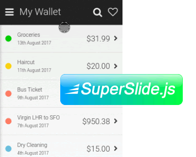 SuperSlide.js – Smooth, GPU Accelerated Sliding Menu for PWA