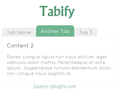 Tabify – jQuery Tabs Plugin