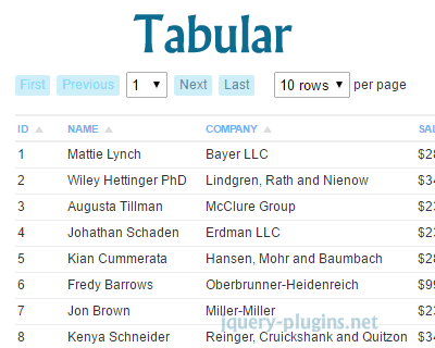 Tabular– Server Side Datatable with jQuery