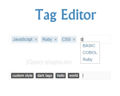Tag Editor – Lightweight Tag Editor Plugin for jQuery