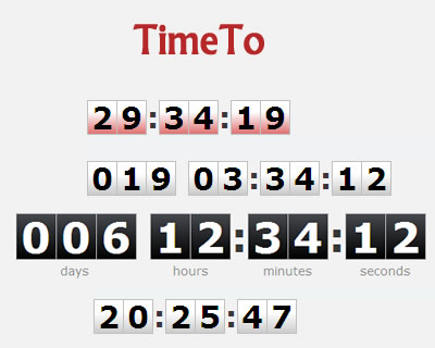 TimeTo – jQuery Digital Clock Countdown Timer Plugin