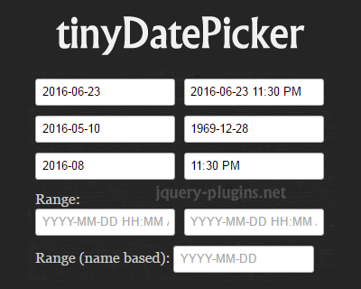 tinyDatePicker – Tiny Date/Time Picker and Calendar