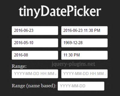 tinyDatePicker – Tiny Date/Time Picker and Calendar