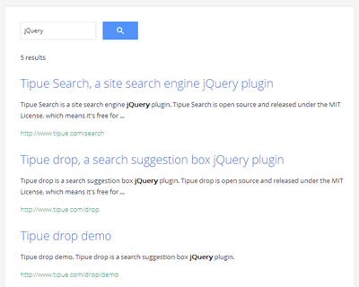 Tipue Search – jQuery Site Search Engine