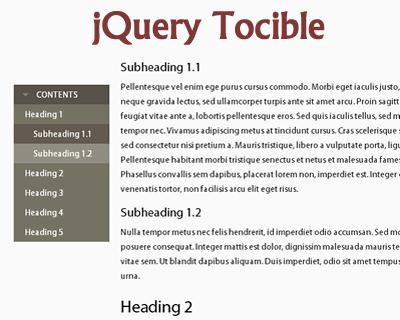 Tocible – Table of Contents Navigation Menu