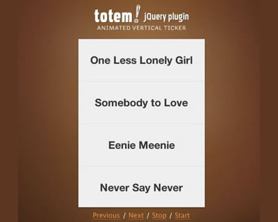 Totem - Vertical Ticker jQuery Plugin