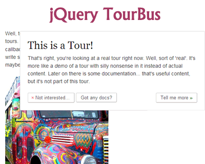 TourBus – jQuery Tour/Walkthrough Plugin