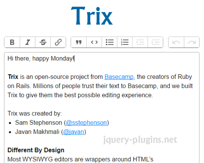 Trix – Rich Text Editor for Everyday Writing | jQuery Plugins